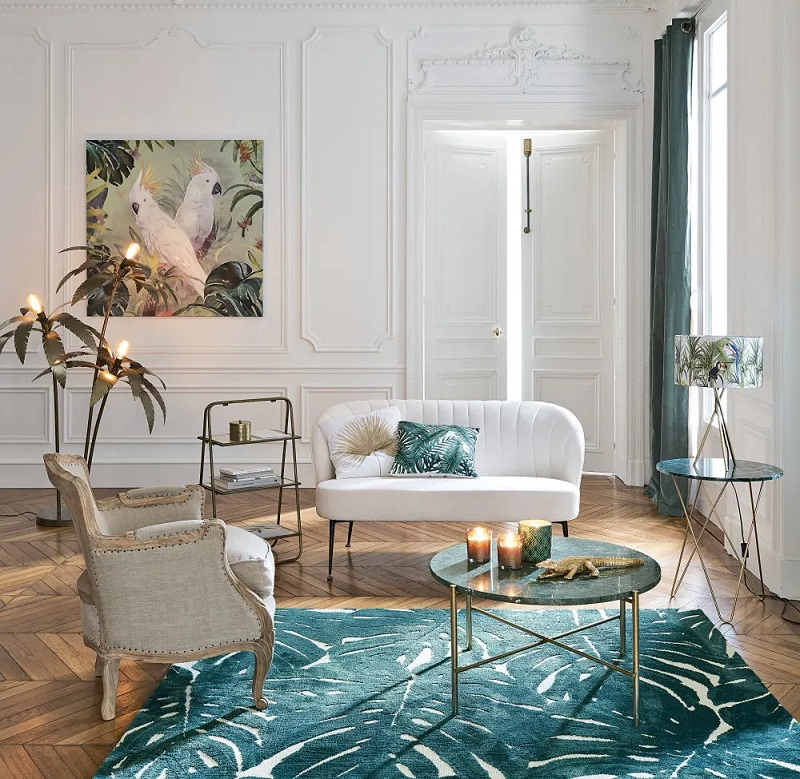 Table basse ronde Pietra en marbre vert et métal coloris laiton - Maisons du Monde