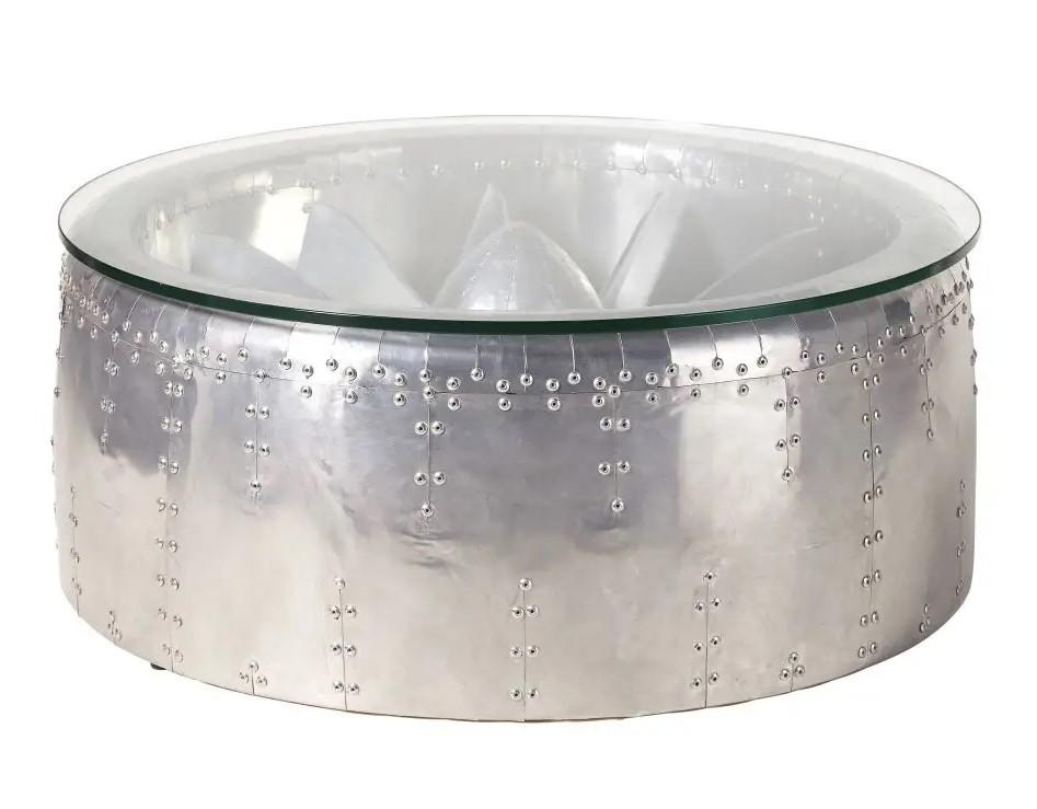 Table basse ronde indus Tyler en aluminium et verre - Maisons du Monde