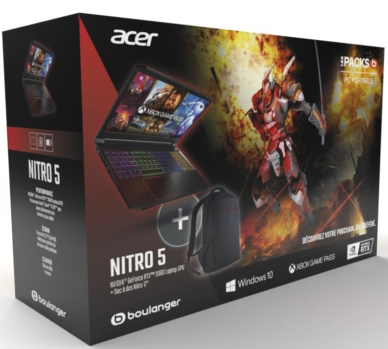 PC Gamer Acer Pack Nitro 5 AN517-52-54PM + Sac à Dos