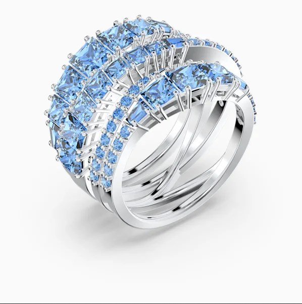 Bague Twist Wrap Swarovski bleu métal rhodié