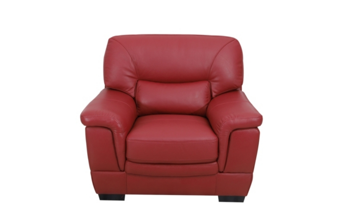 Fauteuil LANDY cuir buffle rouge
