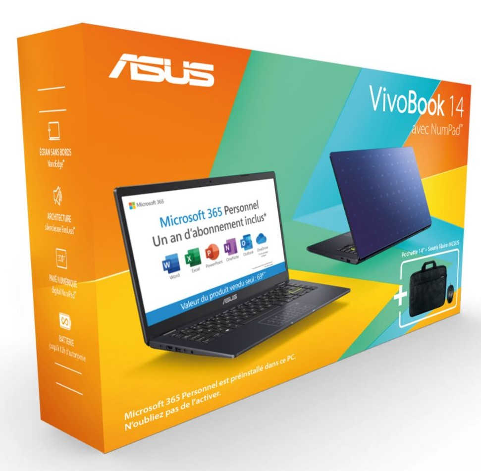 Ordinateur portable Asus Pack E410MA-EK991TS office365+souris+sac