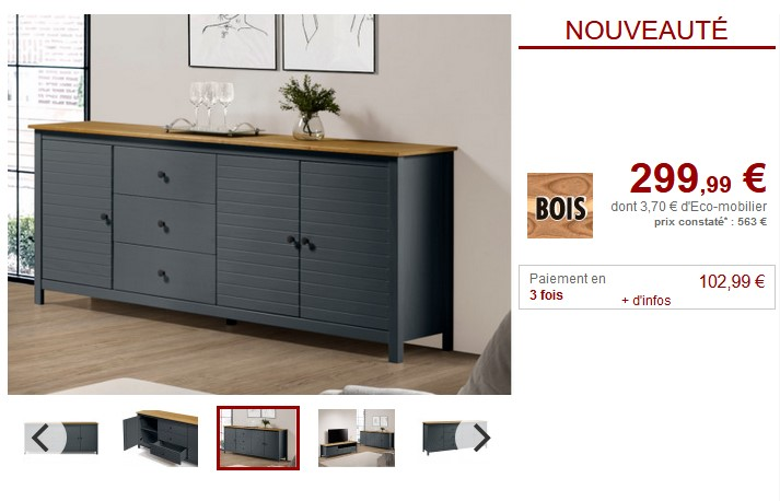 Buffet NEWPORT 3 portes, 3 tiroirs Pin Anthracite - Vente Unique