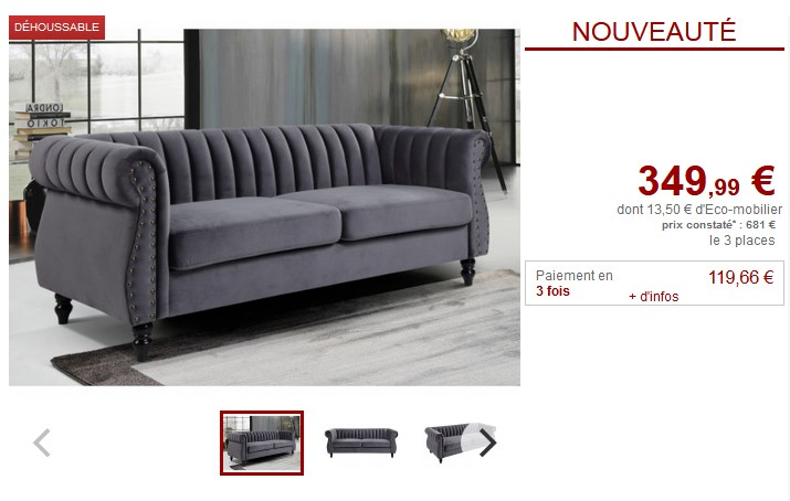 Canapé chesterfield 3 places TRUMBO en velours antharcite