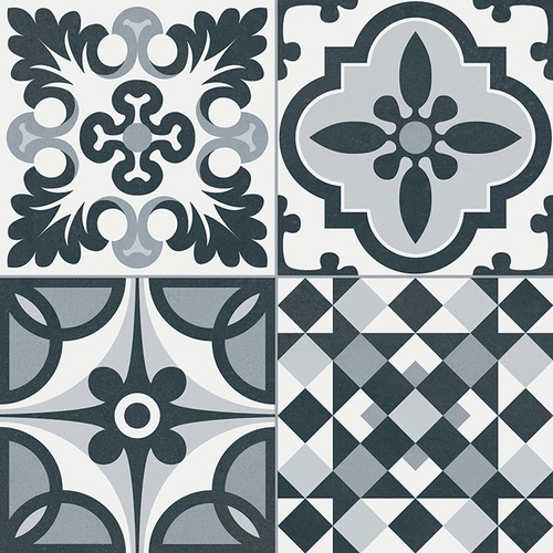 Carrelage style ancien ciment HERITAGE BLACK 33x33 cm 1.32m²