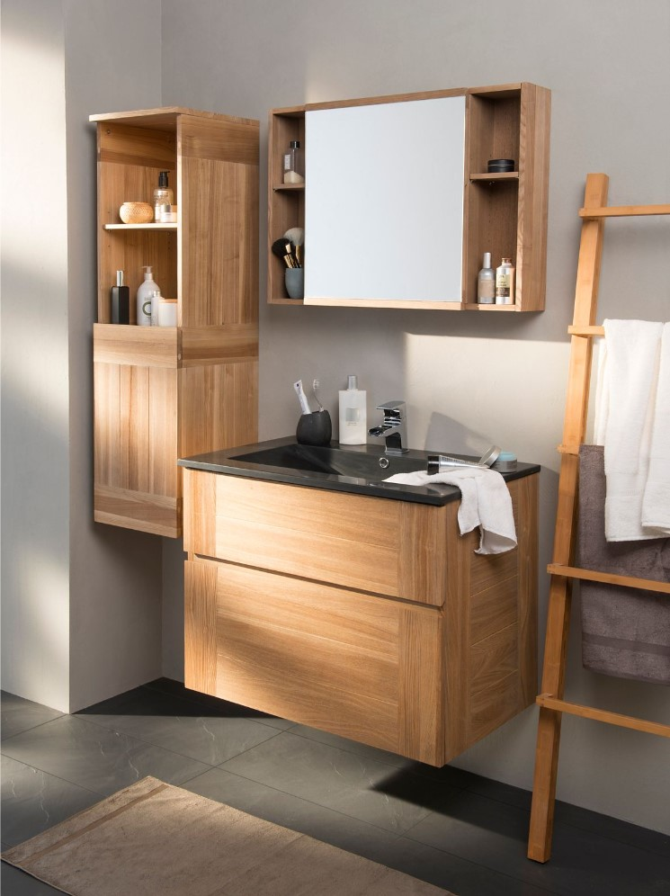 Ensemble de salle de bains essential 80 cm noir meuble Meuble haut salle de bain pas cher