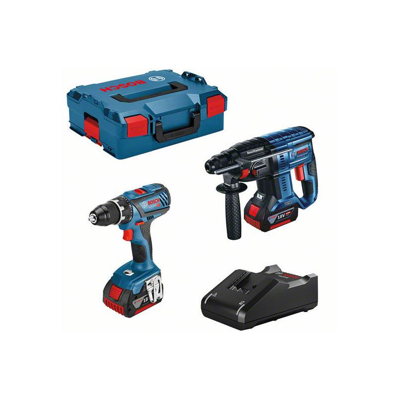 Lot BOSCH Perceuse GSR 18V-28 + Perforateur GBH 18V-21 + 2 batteries 18V 4.0Ah + chargeur + coffret - 0615990M0R
