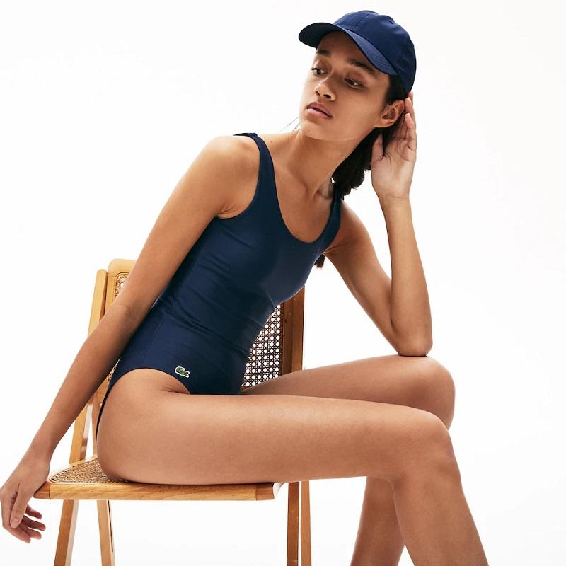 Maillot de bain une pièce recyclé uni Lacoste Bleu Marine