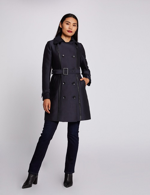 Manteau droit ceinturé boutonné marine femme | Morgan