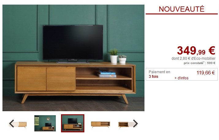 Meuble TV JAMBI Teck Coloris Naturel 2 portes 2 niches
