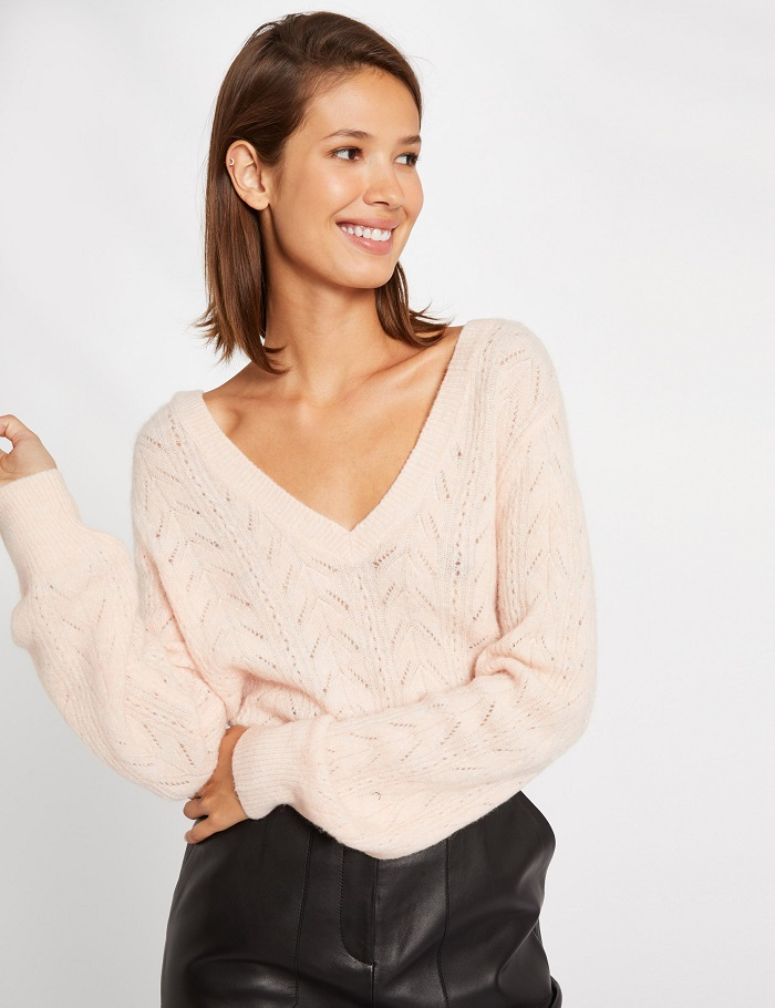 Pull manches longues dos en V rose pale Morgan