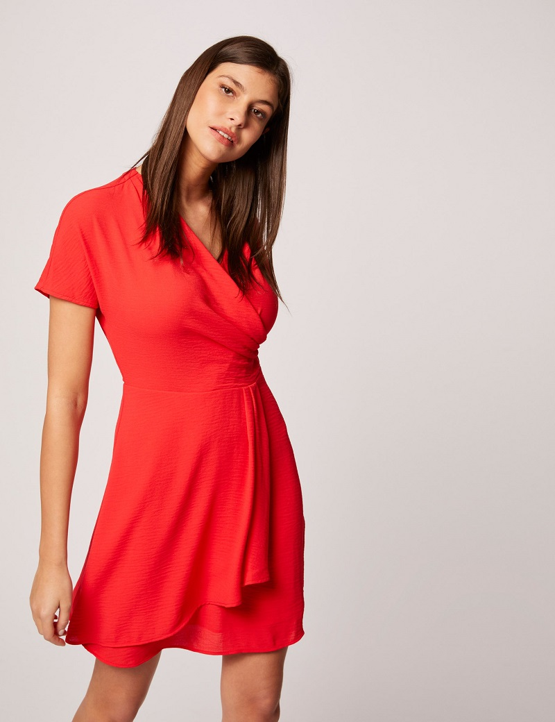 Robe patineuse manches courtes rouge