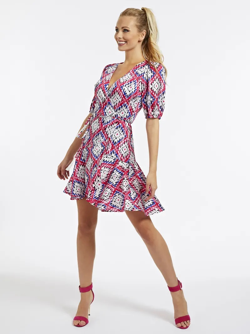 ROBE PORTEFEUILLE IMPRIME ALL-OVER Guess Rose Multi