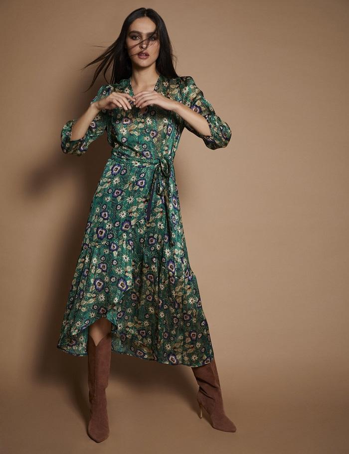 Robe Portefeuille Imprime Floral Vert Morgan Robe Morgan Ventes Pas Cher Com