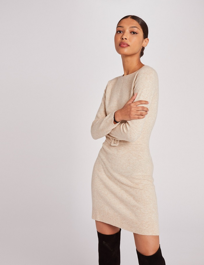 Robe pull droite taille avec boucle beige Morgan