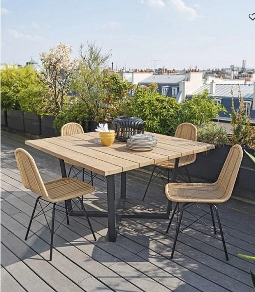 Table De Jardin Carree Lanzarote En Acacia 8 Personnes Table De