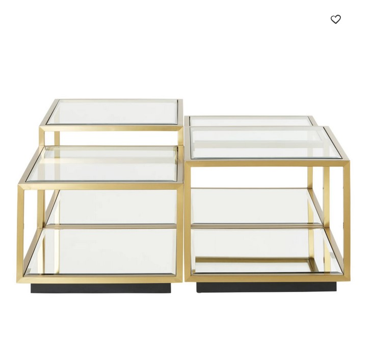 Tables Gigognes Greenwich En Verre Trempe Et Metal Dore Table
