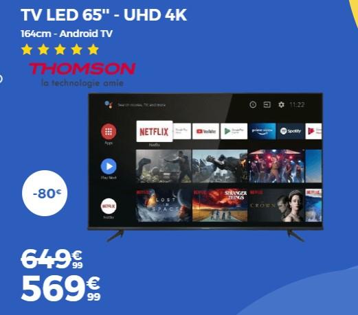 THOMSON 65UG6420 TV LED 164cm pas cher - Soldes Téléviseur Cdiscount
