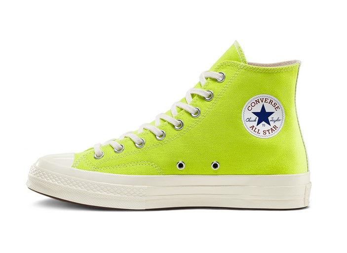 Unisex Converse x PLAY Comme des Garçons Chuck 70 High Top acid lime green/egret/high ris