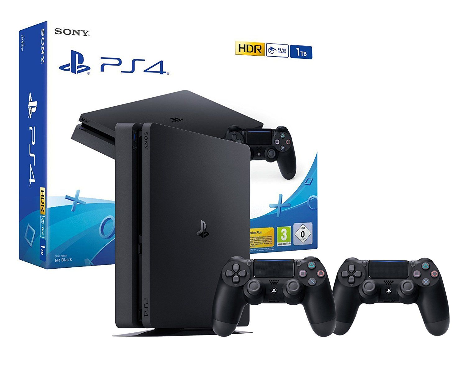 PS4 Slim 1To  Noir + 2 Manettes Dualshock PS4 V2
