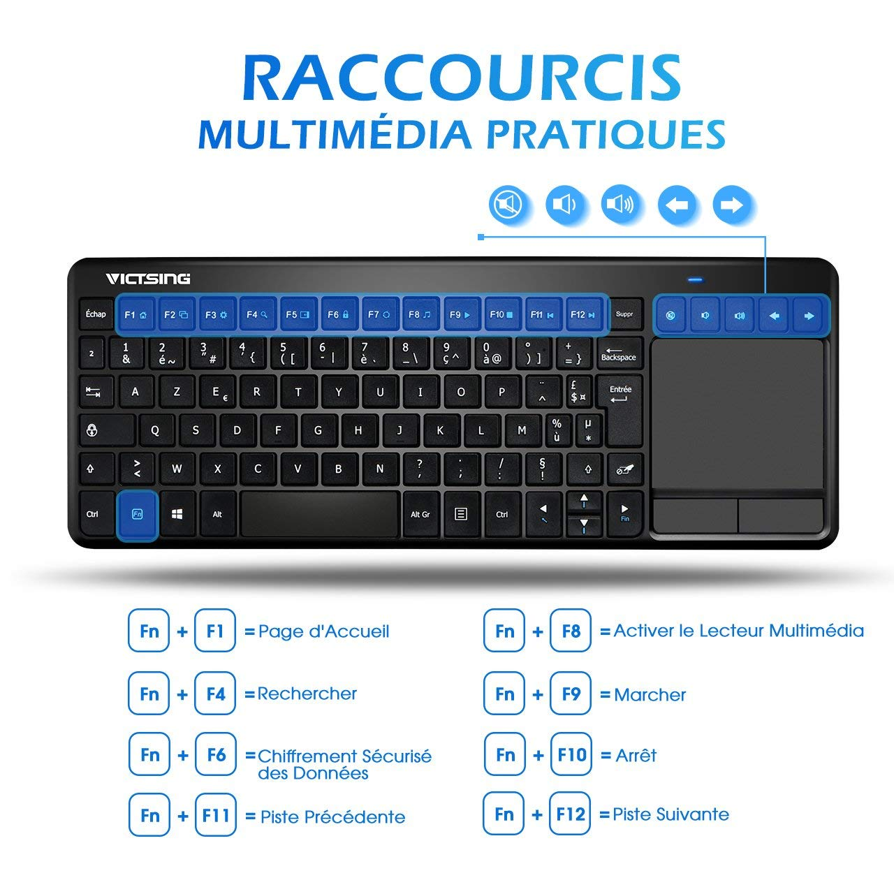Clavier Sans Fil Touchpad VicTsing