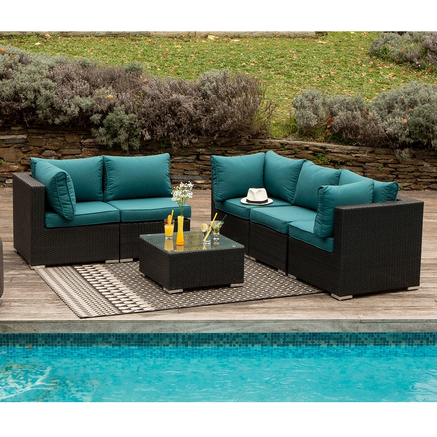 salon de jardin bas 5 places akira salon de jardin delamaison ventes pas. Black Bedroom Furniture Sets. Home Design Ideas
