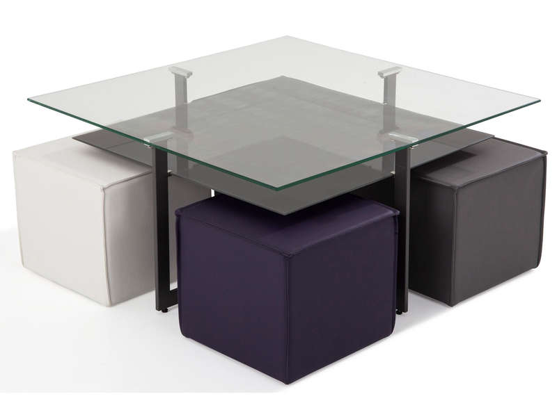 Table basse 4 poufs bolero table basse conforama pas - Table basse avec poufs integres ...