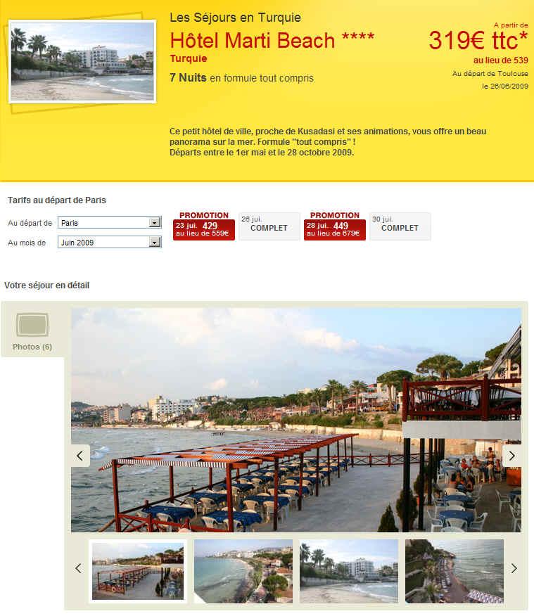 hotel marti beach pour partir pas cher voyage turquie avec marmara. Black Bedroom Furniture Sets. Home Design Ideas