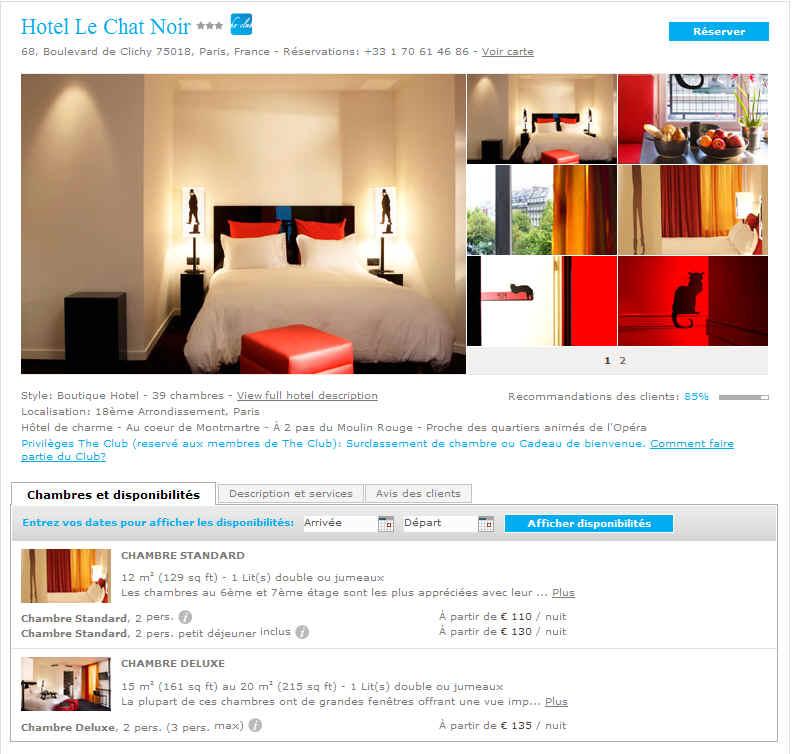 hotel le chat noir paris avec splendia 110 eur hotel de charme ventes pas. Black Bedroom Furniture Sets. Home Design Ideas