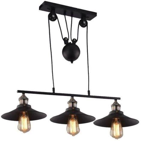 Lustre Suspension Industrielle Poulie 3 Lampes Plafonnier en Métal Fer Luminaire pour Salon cuisine bar restaurant - ManoMano