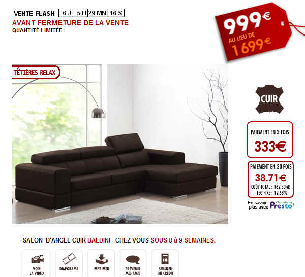 Vente flash salon d 39 angle en cuir baldini 40 999 euro sur vente uniqu - Reduction vente unique ...