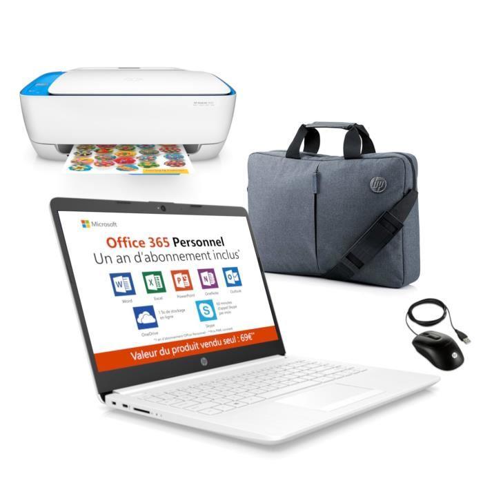PC portable HP 14 pouces, Office 365 pendant 1 an, une imprimante, une sacoche et souris pour 179 €