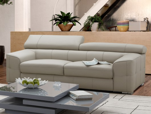 canap 3 places en cuir emilio blanc canap vente unique. Black Bedroom Furniture Sets. Home Design Ideas