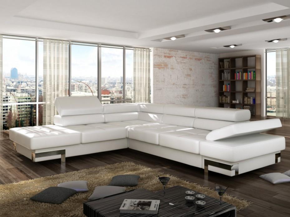 canap d 39 angle convertible en simili damien canap vente. Black Bedroom Furniture Sets. Home Design Ideas