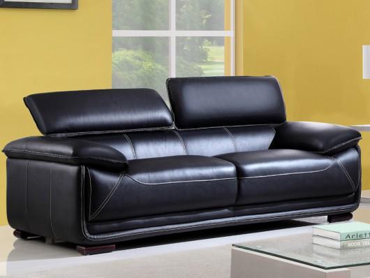 canap 3 places en cuir macelo noir canap vente unique ventes pas. Black Bedroom Furniture Sets. Home Design Ideas