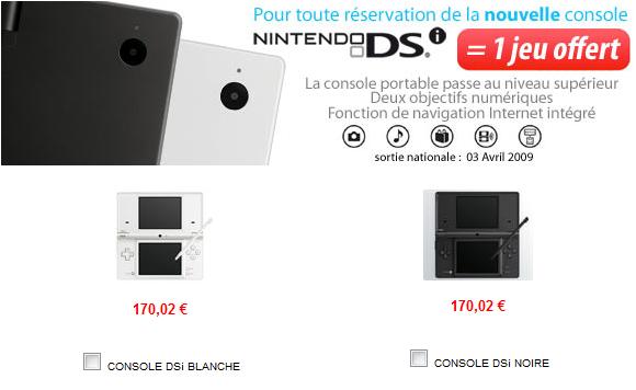 1 jeu offert pour toute réservation de la nouvelle console portable Nintendo DSi sur Cdiscount.com