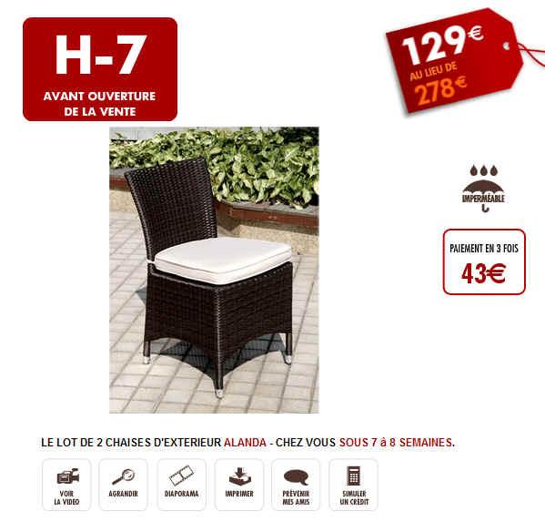 Vente Flash Lot de 2 Chaises d'Exterieur Alanda 129 Eur chez Vente Unique
