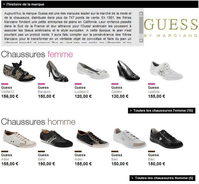 chaussure guess femme et homme nouvelle collection sur. Black Bedroom Furniture Sets. Home Design Ideas