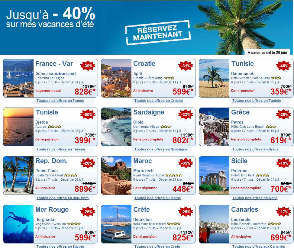 Expedia Voyages jusqu'à -40% sur Vos Vacances d'été