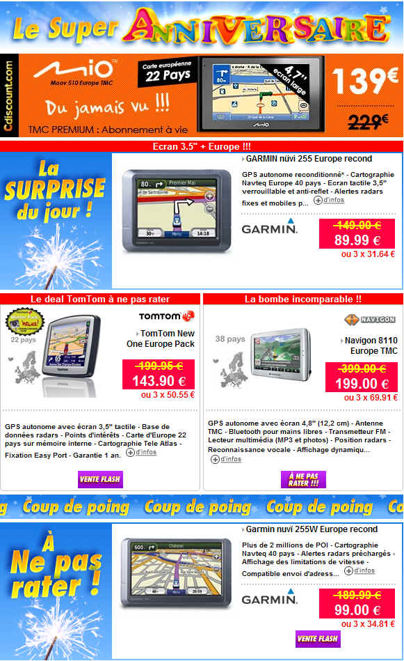 cdiscount gps prix discount r duction jusqu 39 50 sur tomtom garmin ventes pas. Black Bedroom Furniture Sets. Home Design Ideas
