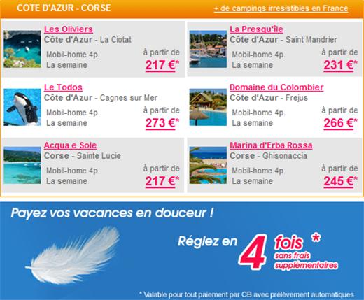 Camping Côte d'azur et Corse à partir de 217€ par semaine pour 4 personnes en mobil-home sur Homair.com