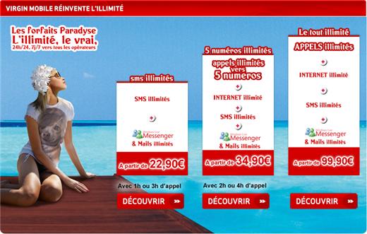 Forfaits PARADYSE - Les nouveaux forfaits illimité de Virgin Mobile