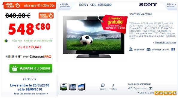 T l viseur lcd sony kdl 40bx400 prix 548 80 euros - Televiseur c discount ...