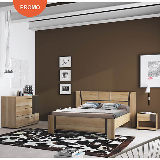 lit simple douglas noyer camif lit adulte camif ventes. Black Bedroom Furniture Sets. Home Design Ideas
