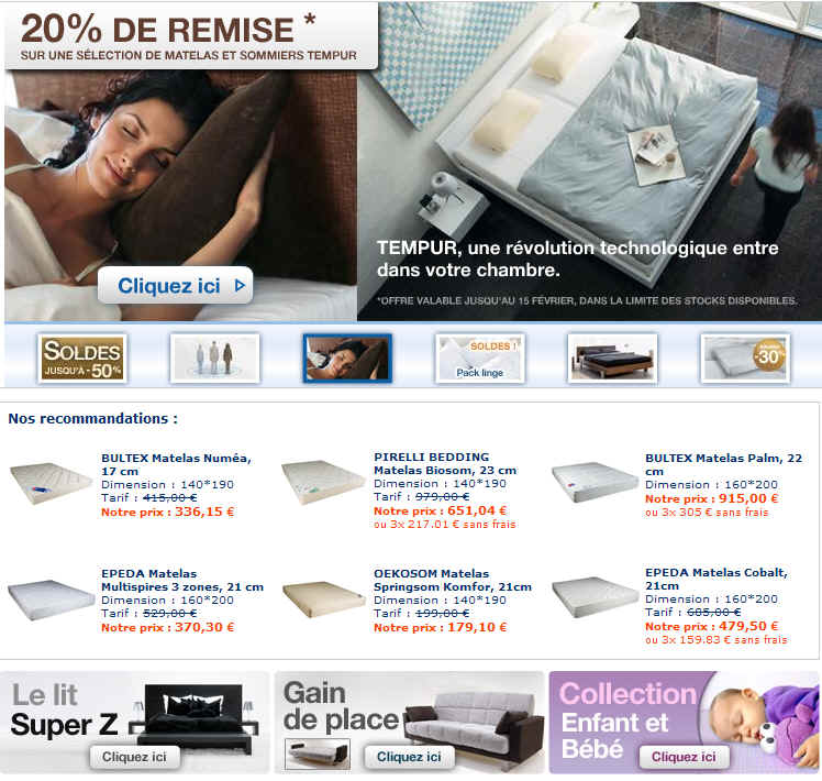 matelsom reduction matelas epeda 30 matelsom promo sommier tempur 20 ventes pas. Black Bedroom Furniture Sets. Home Design Ideas
