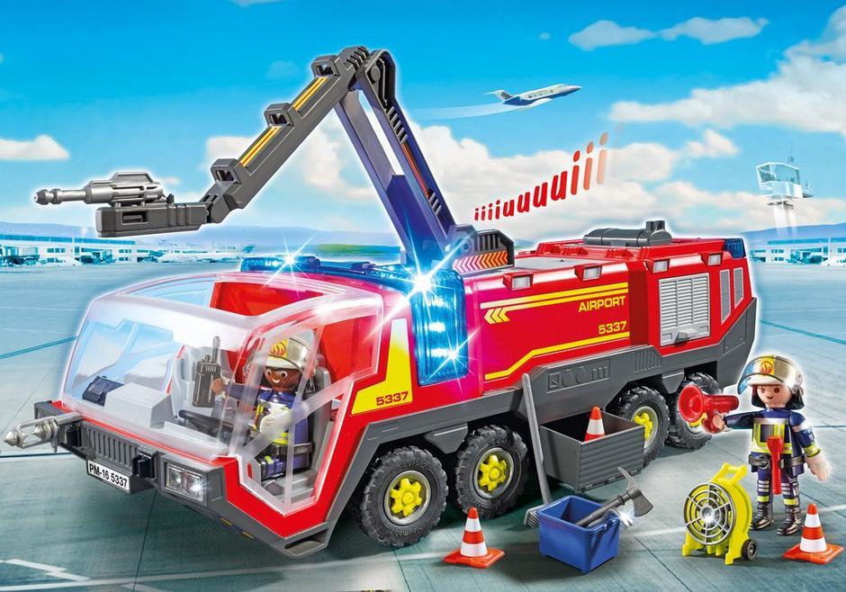 Pompiers avec véhicule aéroportuaire 5337 PLAYMOBIL