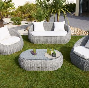 Salon de jardin isa canap 2 faut table basse en for Salon de jardin pas cher amazone