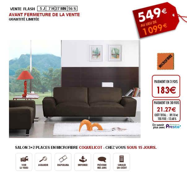 Vente Unique Vente Flash Salon 3+2 places Coquelicot -45% à 549 Eur