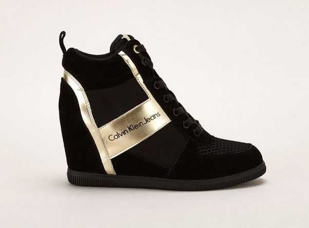 Calvin Klein Jeans Sneakers compensées noires/or - Monshowroom