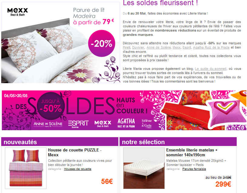soldes literie mania jusqu 39 50 de reduction sur matelas sommiers ventes pas. Black Bedroom Furniture Sets. Home Design Ideas